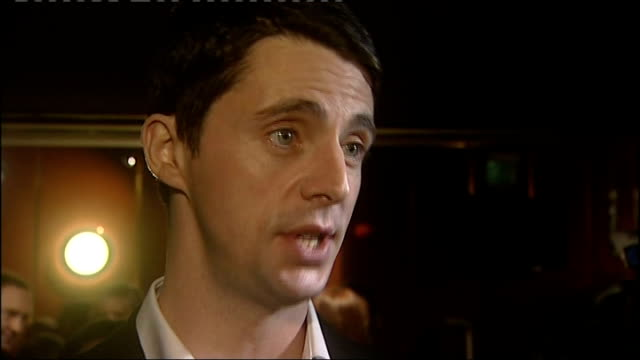 'a single man' premiere interviews matthew goode interview sot on working with tom ford as a director tom ford speaking to press sot nicholas hoult... - matthew goode stock videos & royalty-free footage