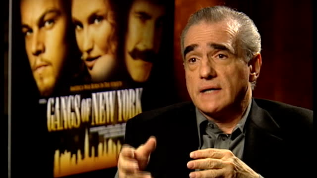 academy awards 2013; 8.1.2003 / t08010327 england: int martin scorsese interview sot - re daniel day-lewis's acting in 'gangs of new york' - ギャング・オブ・ニューヨーク点の映像素材/bロール