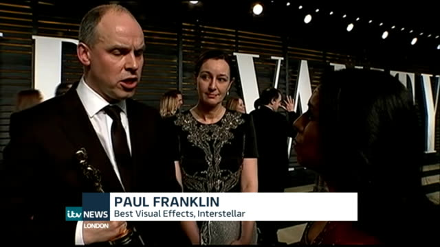 Academy Awards 2015 Eddie Redmayne wins Best Actor CUTAWAY USA Los Angeles EXT Paul Franklin interview SOT can't think of any other business that has...