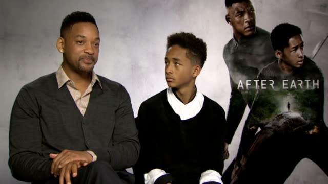 'after earth' film junket will smith and jaden smith interviews england london int will smith and jaden smith interviews sot on working together as... - jaden smith stock videos & royalty-free footage