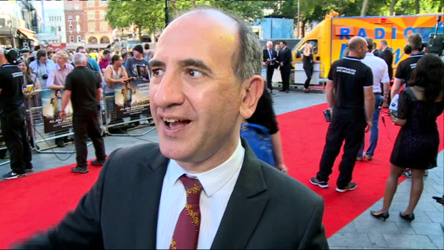 'alan partridge: alpha papa' premiere in leicester square; armando iannucci interview sot / iannucci signing autographs / dara o briain posing with... - dara o'briain stock videos & royalty-free footage