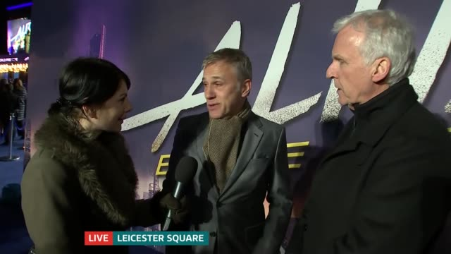 'alita battle angel' premiere england london leicester square christoph waltz and james cameron live interview on red carpet sot - angel stock-videos und b-roll-filmmaterial
