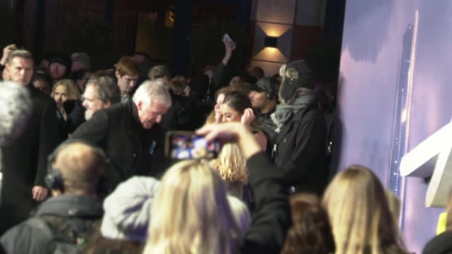 'alita battle angel' premiere england london leicester square robert rodriguez gvs / christoph waltz signing autographs / james cameron giving scarf... - neckwear stock videos and b-roll footage