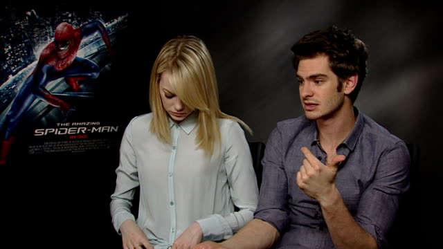 Amazing Spiderman Andrew Garfield and Emma Stone interviews ENGLAND London INT Andrew Garfield and Emma Stone interview SOT