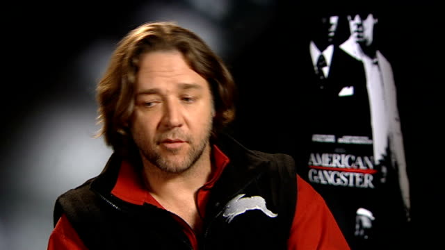 'american gangster' directed by sir ridley scott england london int russell crowe interview sot great thing about ridley is he doesn't go 'shut up'... - russell crowe stock videos & royalty-free footage