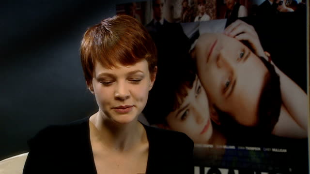 'an education' junket; england: london: int carey mulligan interview sot - on her amazing year - landing her first lead role, appearing on letterman... - audrey hepburn stock videos & royalty-free footage