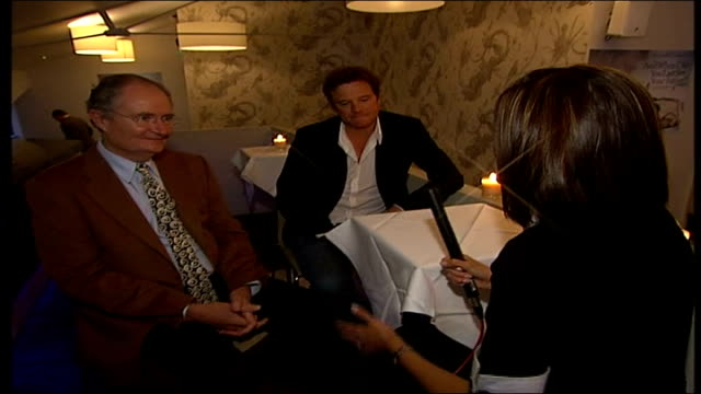 vídeos de stock, filmes e b-roll de film 'and when did you last see your father' cast interviews england london int reporter to camera / colin firth interview sot [firth] on how the... - colin firth