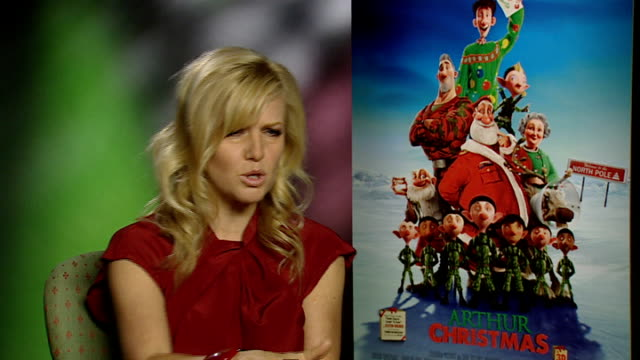 'arthur christmas': junket interviews; ashley jensen interview sot - on her character's squeaky voice - does an impression / being a christmas fan /... - wisdom stock-videos und b-roll-filmmaterial