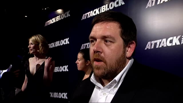 'attack the block' film premiere nick frost red carpet interview sot/ jodie whittaker red carpet interview sot - nick frost actor stock videos & royalty-free footage