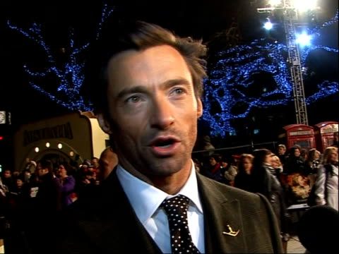'australia' premiere - red carpet interviews; hugh jackman interview sot - on the best thing about being an aussie - on being the sexiest man alive -... - epic film stock videos & royalty-free footage