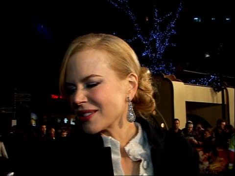'Australia' premiere red carpet interviews Nicole Kidman interview SOT on what she's learnt about Australia during the film on having to put her coat...
