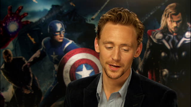 'avengers assemble' cast interviews england london int tom hiddleston interview sot - cast member stock videos & royalty-free footage