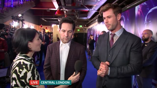 'Avengers Endgame' fan event in London ENGLAND London INT Paul Rudd and Chris Hemsworth LIVE interview at fan event SOT
