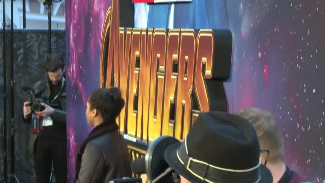 'Avengers Infinity War' fan event ENGLAND London White City Television Studios EXT Sign 'Avengers Infinity War' and artwork / red carpet / Paul...