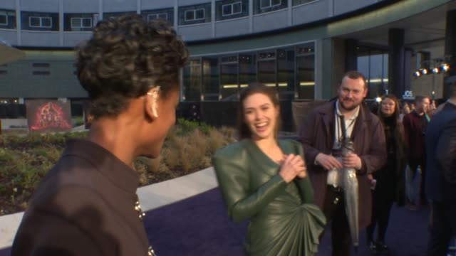 'Avengers Infinity War' fan event London White City Television Studios EXT Sebastian Stan interview SOT / Stan and Elizabeth Olsen hugging / Letitia...