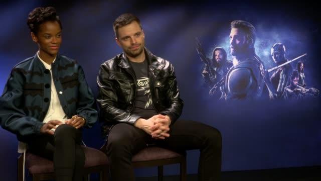 'Avengers Infinity War' Junket interviews ENGLAND London INT Letitia Wright and Sebastian Stan interview SOT / Russo Brothers interview SOT