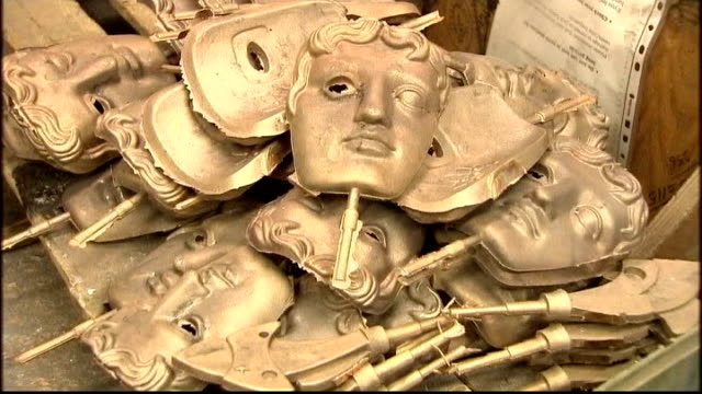 film awards 2011: bafta awards made in foundry in west drayton; england: middlesex: west drayton: new pro foundries: int foundry metalworker spraying... - bafta mask stock videos & royalty-free footage