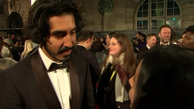 film awards 2017 bafta film awards 2017 dev patel interview sot to be embraced on home turf like this it's really special / we've travelled around... - best supporting actor stock videos & royalty-free footage