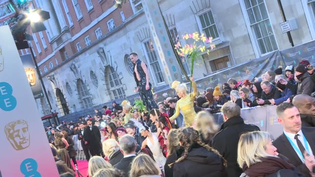 stockvideo's en b-roll-footage met red carpet arrivals bafta film awards 2017 red carpet arrivals england london kensington royal albert hall ext bafta award banners / cirque du soleil... - harry potter naam kunstwerk