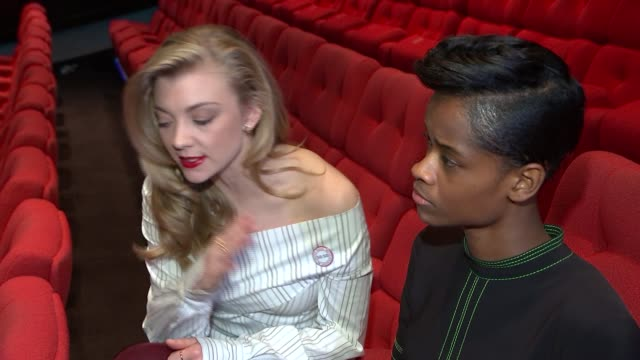 nominations announced letitia wright and natalie dormer interview sot - letitia wright stock videos and b-roll footage
