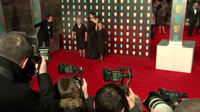 red carpet 'fashion pen' various actors and celebrities pose for photocall on bafta red carpet including andrea riseborough and phyll opokugyimah... - amy carter stock videos & royalty-free footage