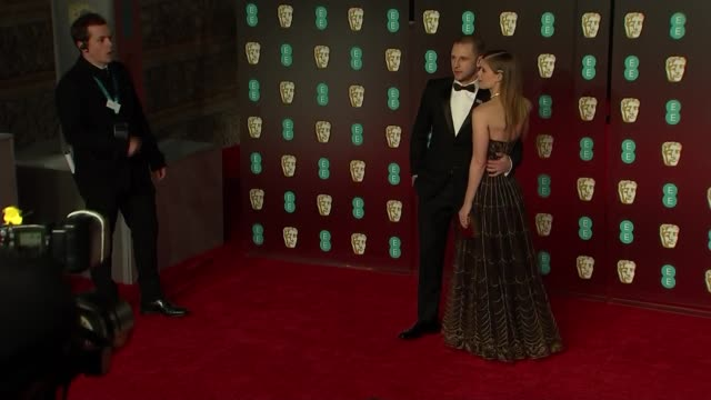 red carpet 'fashion pen' various actors and celebrities pose for photocall on bafta red carpet including gemma chan lupita nyongo jamie bell and kate... - daniel kaluuya stock videos and b-roll footage