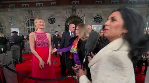 film awards 2020: red carpet arrival interviews; england: london: royal albert hall: bafta film awards 2020: ext / night laura dern talking to press... - laura dern stock videos & royalty-free footage
