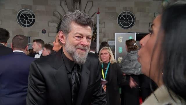 film awards 2020: red carpet arrival interviews; england: london: royal albert hall: bafta film awards 2020: ext / night andy serkis red carpet... - andy serkis stock videos & royalty-free footage
