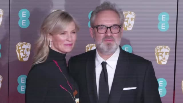 red carpet photocalls england london royal albert hall ext **beware gillian anderson posing for photocall / alison balsom and sam mendes posing for... - sam mendes stock videos & royalty-free footage