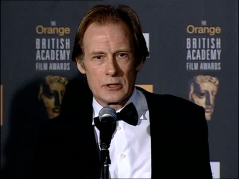 bill nighy press conference sot - stunned...had difficulty persuading myself i might win and when i did it came as big shock ext i/c - film award type stock videos & royalty-free footage