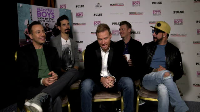 backstreet boys interview; backstreet boys performing part of 'missing you' and 'show em what you're made of' - backstreet boys stock videos & royalty-free footage