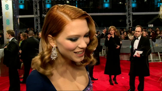Bafta Awards 2014 Red Carpet Lea Seydoux SOT / Michael Sheen / Stephen Fry / Noel Gallager / Model David Gandy / Emma Thompson / Brad Pitt and...