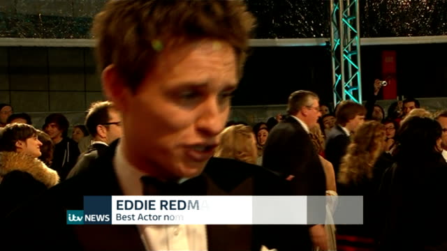 BAFTA Awards 2015 ENGLAND London Royal Opera House BAFTA Awards Eddie Redmayne red carpet interview SOT/ Benedict Cumberbatch red carpet interview SOT