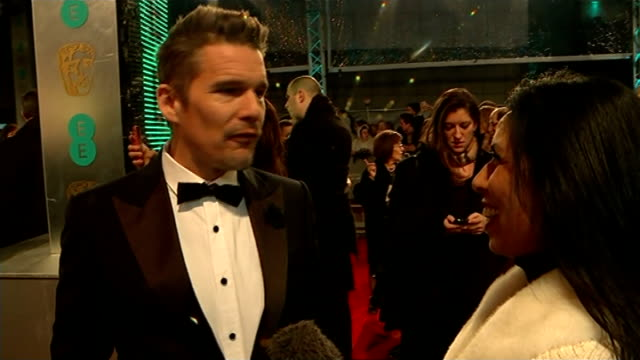 bafta awards 2015 ethan hawke red carpet interview sot/ - best supporting actor stock videos & royalty-free footage