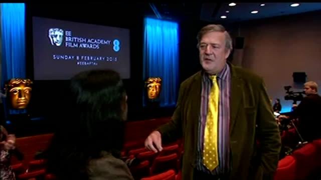 vídeos de stock e filmes b-roll de awards 2015: nominations announced; england: london: bafta: int stephen fry interview sot - stephen fry