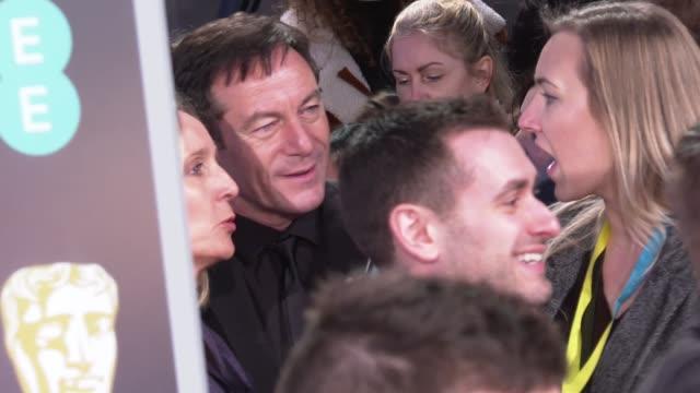 bafta film awards 2019 red carpet arrivals and interviews england london kensington the royal albert hall jason isaacs gvs / jason isaacs interview... - jason isaacs stock videos & royalty-free footage