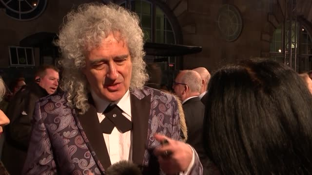 BAFTA Film Awards 2019 red carpet interviews ENGLAND London Kensington The Royal Albert Hall EXT Brian May and Anita Dobson interview SOT / Jessie...
