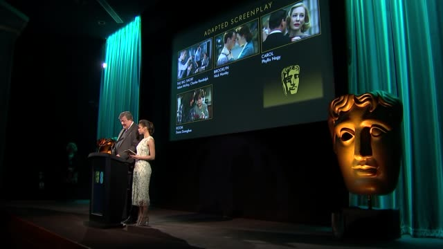 bafta nominations 2016 and interviews england london int sideview bafta nominations press conference at which stephen fry and gugu mbatharaw announce... - mark rylance stock-videos und b-roll-filmmaterial