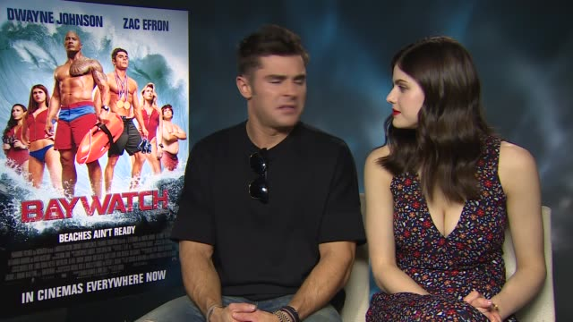 'Baywatch' junket interviews ENGLAND London INT Zac Efron and Alexandra Daddario interview SOT Priyanka Chopra interview SOT