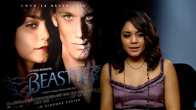 Film 'Beastly' Vanessa Hudgens interview ENGLAND London INT Vanessa Hudgens interview SOT On nicknames VHudge Baby V / the film 'Beastly' / not...
