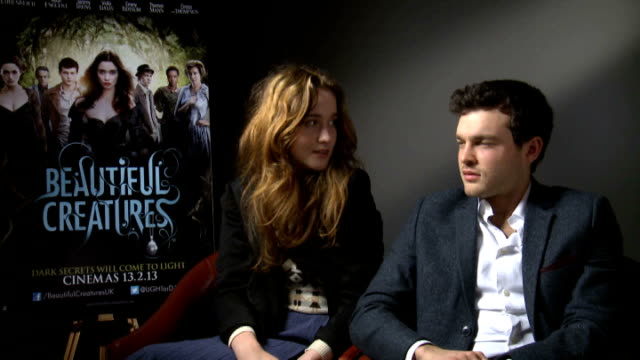 'Beautiful Creatures' Junket interviews ENGLAND London INT Alice Englert and Alden Ehrenreich interview SOT