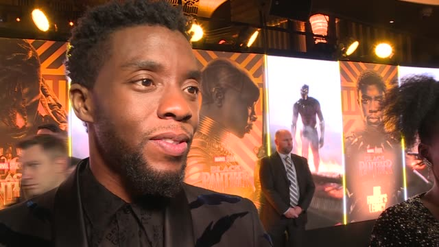 'black panther' european premiere red carpet arrivals london lupita nyong'o interview sot / chadwick boseman interview sot / lupita nyong'o speaking... - danai gurira stock videos and b-roll footage