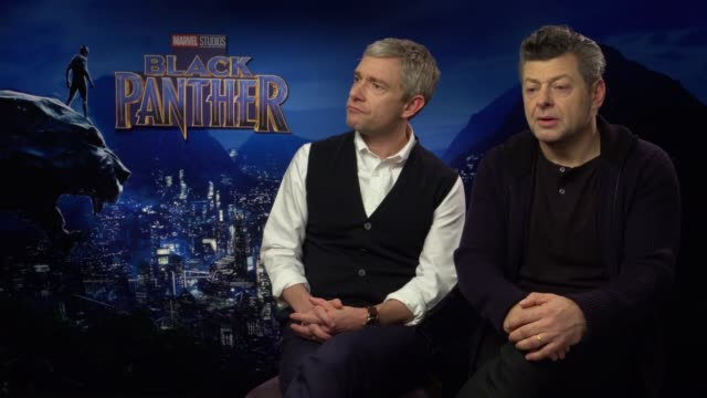 vídeos y material grabado en eventos de stock de 'black panther' junket interviews andy serkis and martin freeman interview sot - martin freeman