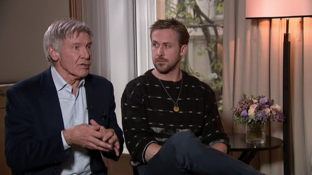'blade runner 2049' harrison ford and ryan gosling interview harrison ford and ryan gosling interview sot - ryan gosling stock videos and b-roll footage