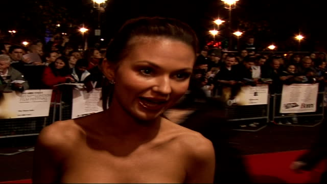 'bobby' premiere at london film festival: arrivals and interviews; svetlana metkina , wearing black and white strapless dress, interview on red... - strapless stock videos & royalty-free footage