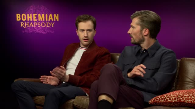 'Bohemian Rhapsody' interviews ENGLAND London INT Joe Mazzello and Gwilym Lee interview SOT On getting the call about getting the job On being...