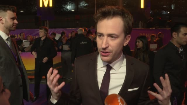 'bohemian rhapsody' world premiere; england: london: wembley: sse arena: bohemian rhapsody world premiere: ext joe mazzello red carpet interview sot - wembley arena stock videos & royalty-free footage