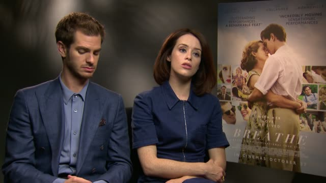 'Breathe' junket interviews ENGLAND London INT Andrew Garfield and Claire Foy interview SOT / Andy Serkis interview SOT
