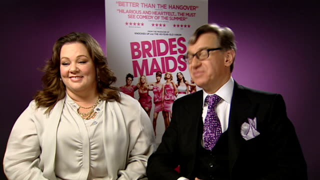 'Bridesmaids' interview with cast and director ENGLAND London INT Melissa McCarthy and Paul Feig interview SOT On shop scene / Very funny to film...