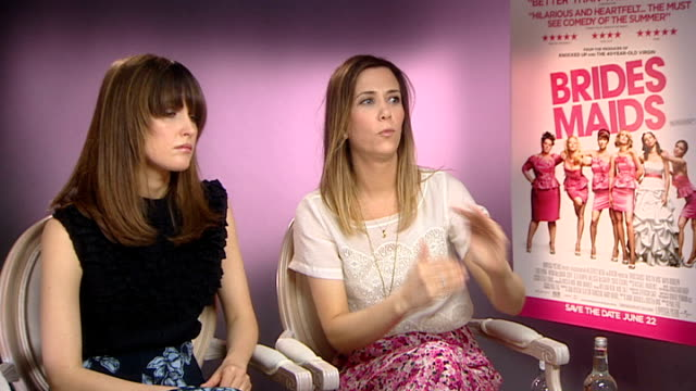 'bridesmaids' interview with cast and director kristen wiig and rose byrne interview sot on what is and isn't acceptable in films / have to see it... - rose byrne stock videos and b-roll footage